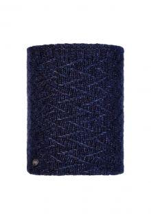 Buff---Knitted-Polar-Tube-scarf-Ebba-for-adults---Nightblue