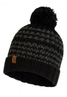 Buff---Knitted-Polar-Hat-Kostik-with-pompom-for-adults---Black/Grey