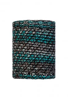 Buff---Knitted-Polar-Tube-scarf-Valya-for-adults---Grey/Turquoise
