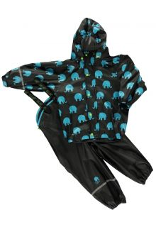 CeLaVi---Rainwear-suit-with-Elefant-print-for-kids---Black