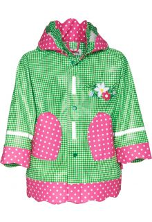 Playshoes---Rainjacket-with-check-&-Dots---Green/Pink