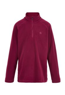 Color-Kids---Fleece-pullover-with-half-zip-for-children---Solid---Beet-Red