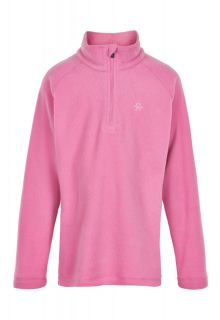 Color-Kids---Fleece-pullover-with-half-zip-for-girls---Solid---Fuchsia-Pink