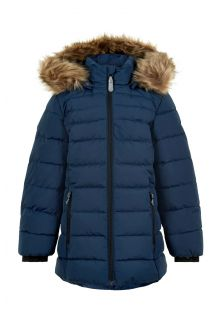 Color-Kids---Winter-jacket-for-girls---Quilted-Solid---Dark-blue
