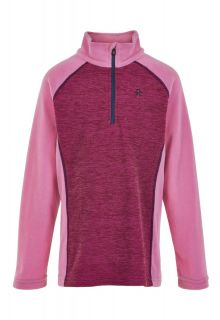 Color-Kids---Fleece-pullover-with-half-zip-for-girls---Melange---Fuchsia-Pink