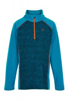 Color-Kids---Fleece-pullover-with-half-zip-for-boys---Melange---Surf-Blue