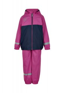 Color-Kids---Rainsuit-with-fleece-for-girls---Colorblock---Rose-Violet