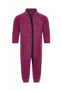 Color-Kids---Fleece-overall-for-babies---Melange---Beet-Red