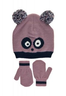 Color-Kids---Beanie-and-mittens-set-for-baby-girls---Panda---Elderberry