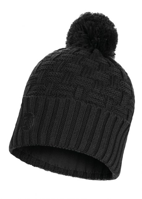 Buff---Knitted-Polar-Solid-Hat-Airon-with-pompom-for-adults---Black