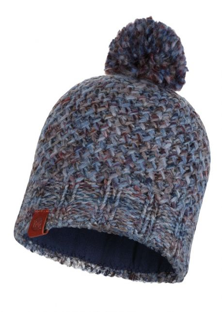 Buff---Knitted-Polar-Hat-Margo-with-pompom-for-adults---Blue