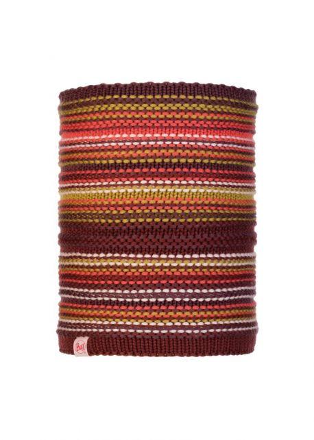 Buff---Knitted-Polar-Tube-scarf-Amity-for-children---Maroon/Multi