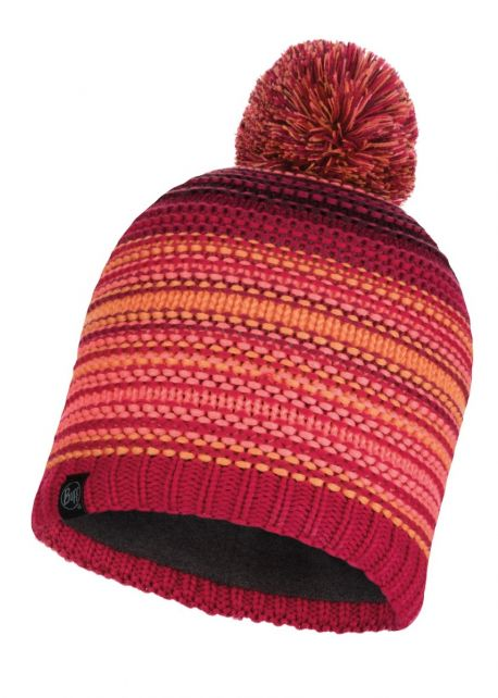 Buff---Knitted-Polar-Hat-Neper-with-pompom-for-adults---Red/Pink