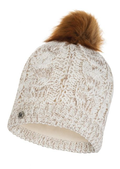 Buff---Knitted-Polar-Hat-Darla-with-pompom-for-adults---Beige