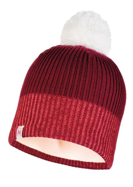 Buff---Knitted-Polar-Hat-Audny-with-pompom-for-children---Red