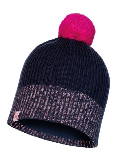 Buff---Knitted-Polar-Hat-Audny-with-pompom-for-children---Nightblue