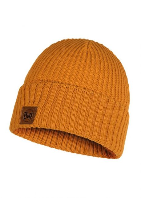 Buff---Knitted-Hat-Rutger-for-adults---Ochre