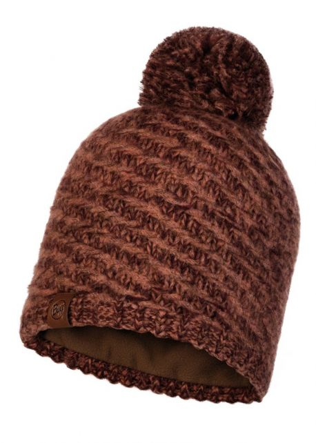 Buff---Knitted-Polar-Hat-Agna-with-pompom-for-adults---Rusty