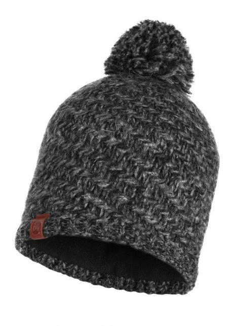 Buff---Knitted-Polar-Hat-Agna-with-pompom-for-adults--Dark-Grey/Black