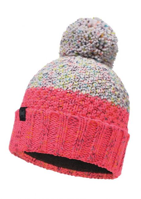 Buff---Knitted-Polar-Hat-Janna-with-pompom-for-adults---Pink/Multi
