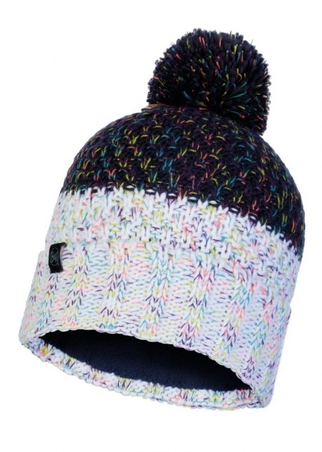Buff---Knitted-Polar-Hat-Janna-with-pompom-for-adults---Darklue/Multi