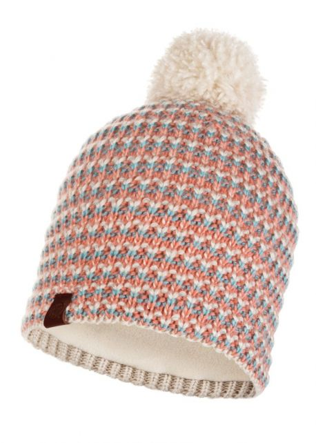 Buff---Knitted-Polar-Hat-Dana-with-pompom-for-adults---Pink/Multi