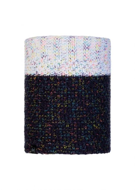 Buff---Knitted-Polar-Tube-scarf-Janna-for-adults---Nightblue/Multi