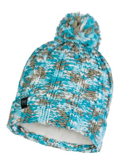 Buff---Knitted-Polar-Hat-Livy-with-pompom-for-adults---Aqua/Multi