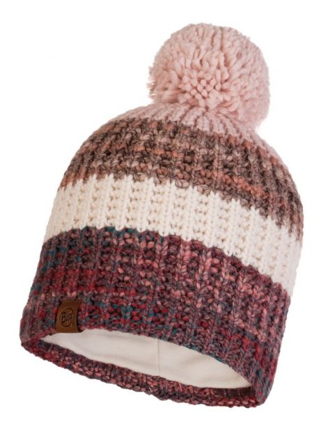 Buff---Knitted-Polar-Hat-Alina-with-pompom-for-adults---Pink/Multi
