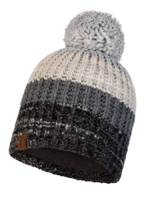 Buff---Knitted-Polar-Hat-Alina-with-pompom-for-adults---Grey/Multi