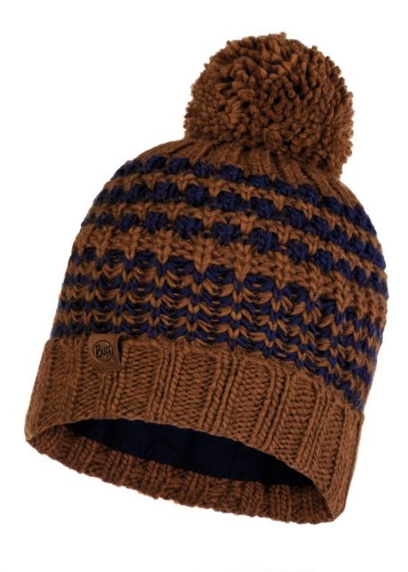Buff---Knitted-Polar-Hat-Kostik-with-pompom-for-adults---Brown/Blue