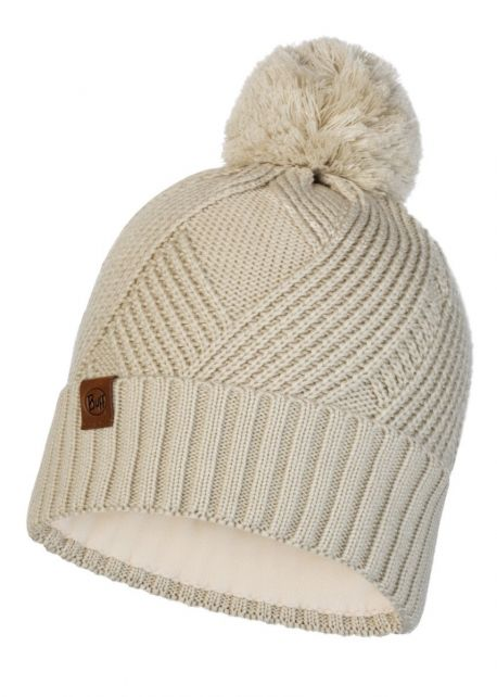 Buff---Knitted-Polar-Hat-Raisa-with-pompom-for-adults---Beige
