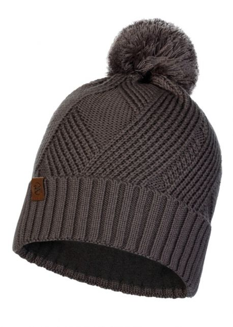 Buff---Knitted-Polar-Hat-Raisa-with-pompom-for-adults---Castle-Grey