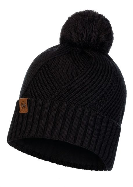 Buff---Knitted-Polar-Hat-Raisa-with-pompom-for-adults---Black