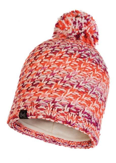 Buff---Knitted-Polar-Hat-Valya-with-pompom-for-adults---Orange/Multi