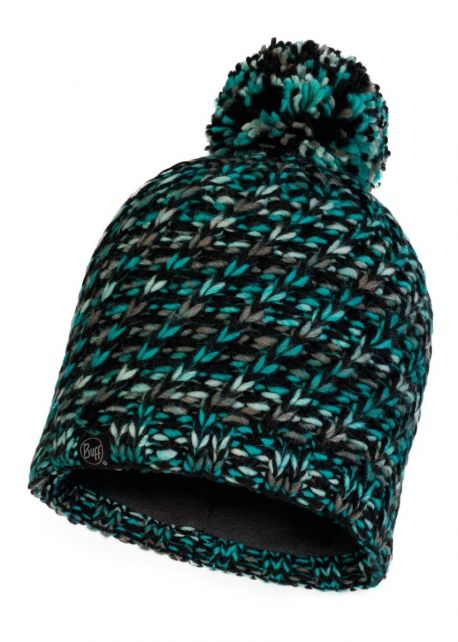 Buff---Knitted-Polar-Hat-Valya-with-pompom-for-adults---Grey/Turquoise