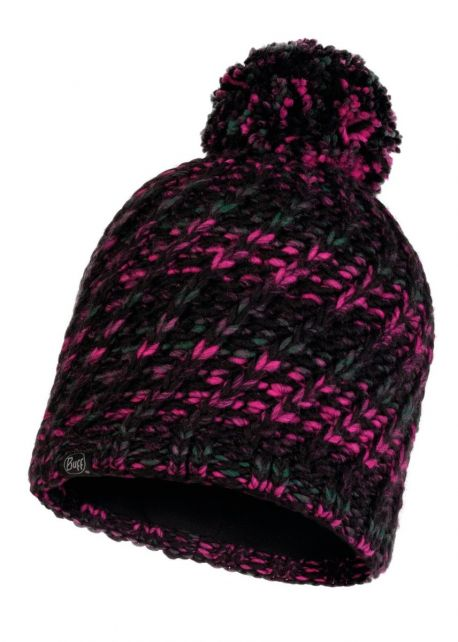 Buff---Knitted-Polar-Hat-Valya-with-pompom-for-adults---Black/Magenta