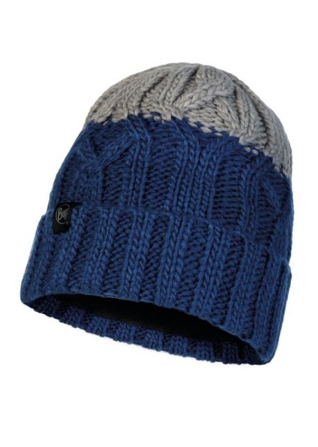 Buff---Knitted-Polar-Hat-Ganbat-for-children---Blue/Grey