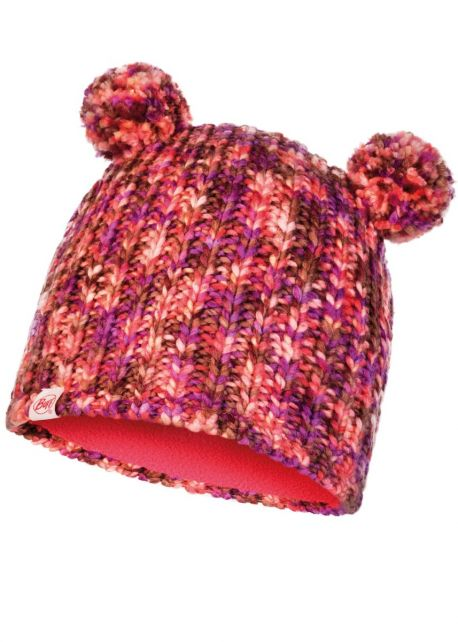 Buff---Knitted-Hat-Lera-with-pompoms-for-children---Pink/Multi