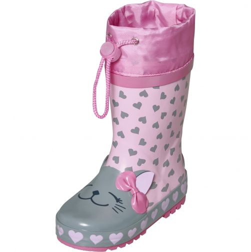 Playshoes---Rainboots-with-drawstring-for-kids---Cat---Pink