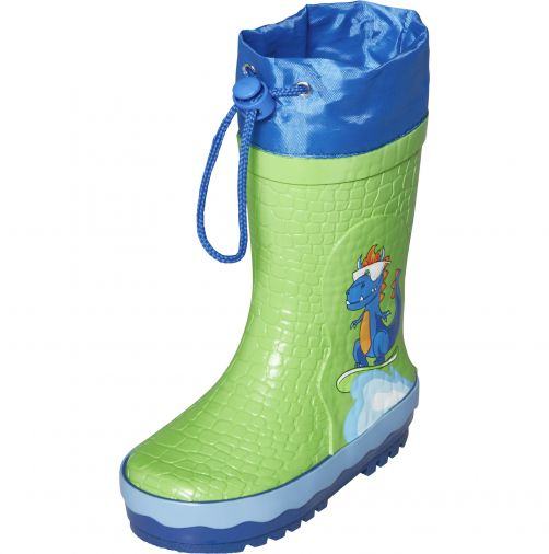 Playshoes---Rainboots-with-drawstring-for-kids---Dinosaur---Green