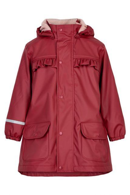 CeLaVi---Raincoat-with-fleece-for-girls---Dark-red