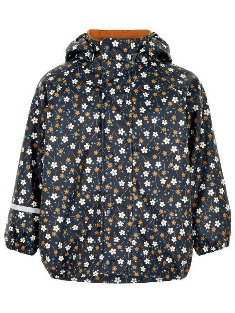 CeLaVi---Rain-jacket-with-fleece-for-girls---Flowers---Dark-blue