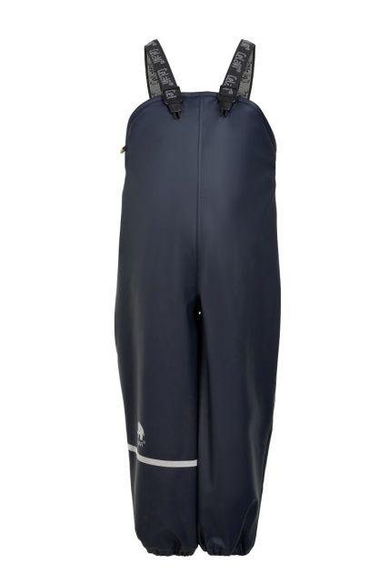 CeLaVi---Rain-pants-with-fleece-for-kids---Bib-or-elastic-waist---Dark-blue
