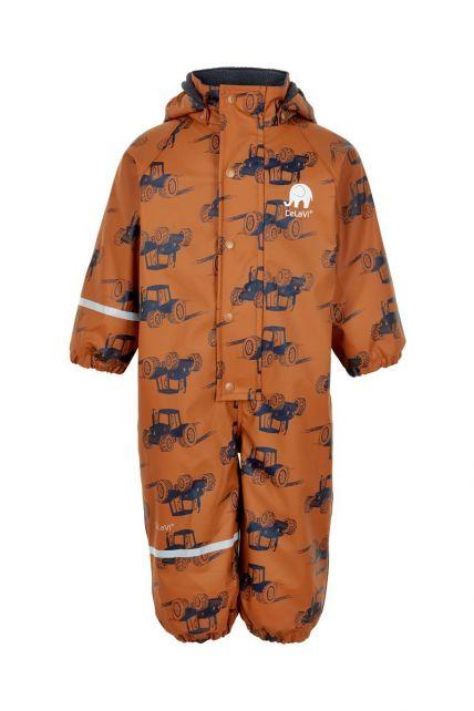 CeLaVi---Rainsuit-with-fleece-for-boys---Tractors---Pumpkin