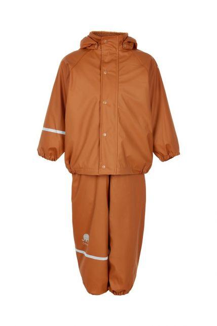 CeLaVi---Rainwear-set-with-fleece-for-kids---Bib-or-elastic-waist---Pumpkin
