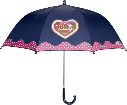 Playshoes---Children's-umbrella-with-Heart-&-Dots---Navy