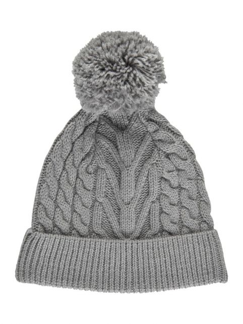 Color-Kids---Beanie-with-pompom-for-children---Cable-Knit---Light-grey