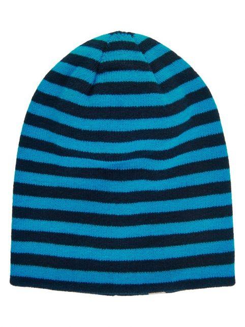 Color-Kids---Reversible-beanie-for-children---Uni-and-Stripes---Dark-blue