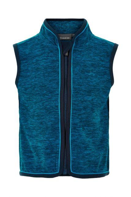 Color-Kids---Fleece-waistcoat-for-babies---Melange---Dark-Blue